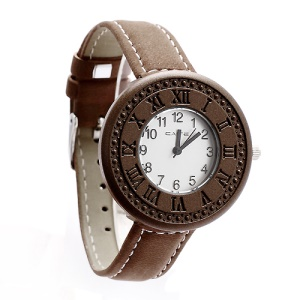 Classic Leather Band Lovers Couple Watch Wristwatch for Women - Brown Dial