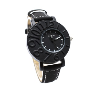 Stylish Mumber Design Aluminium Alloy Lovers Couple Watch Wristwatch for Men - Black