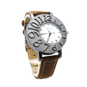 Stylish Mumber Design Aluminium Alloy Lovers Couple Watch Wristwatch for Men - Brown