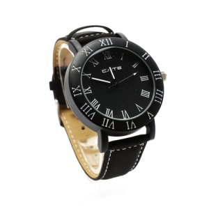 Retro Leather Strap Couple Watch Lovers Gift Wristwatch for Men - Black