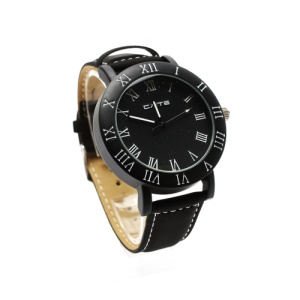 Retro Leather Strap Couple Watch Lovers Gift Wristwatch for Women - Black