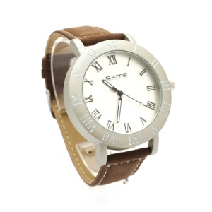Retro Leather Strap Couple Watch Lovers Gift Wristwatch for Men - Brown