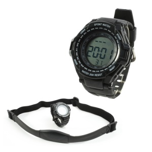 Digital Heart Rate Monitor w/ Pedometer Sports Watch - Black