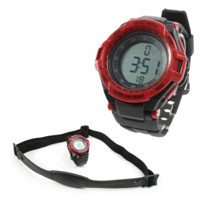 Digital Heart Rate Monitor w/ Pedometer Sports Watch - Black / Red