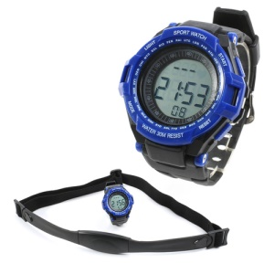 Digital Heart Rate Monitor w/ Pedometer Sports Watch - Black / Blue