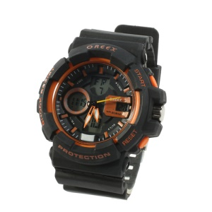 Oreex Double Display Sports Watch with Red Light Silicon Watch Band (No.2122) - Black / Orange