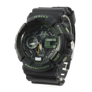 Oreex Double Movt Sports Watch with Red Light Silicon Watch Band (No.2122) - Black / Green