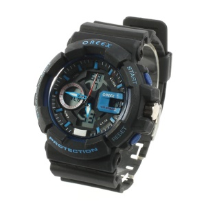 Oreex Double Display Chronograph Watch with Red Light Silicone Watch Band (No.2122) - Black / Blue