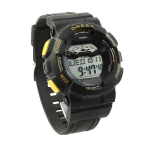 OREEX Fashion Men and Women Electronic Wrist Watch - Black / Yellow