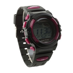 Hi-power Solar Power LCD Display Sports Watch - Black / Red