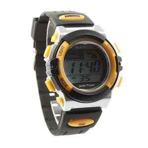 Hi-power Solar Power LCD Display Sports Watch - Black / Yellow