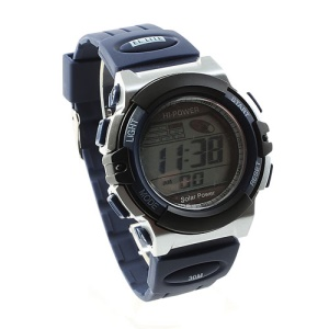 Hi-power Solar Power LCD Display Sports Watch - Black / Blue