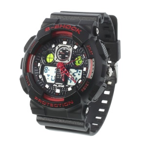 ALIKE S-Shock AK1055 Analog Digital Display Alarm Date Stop Sports Wrist Watch - Red