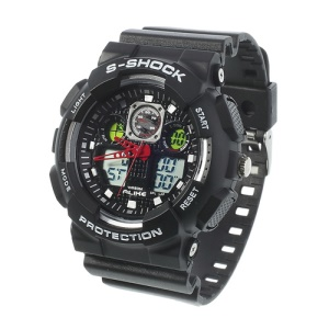 ALIKE S-Shock AK1055 Analog Digital Display Alarm Date Stop Sports Wrist Watch - White