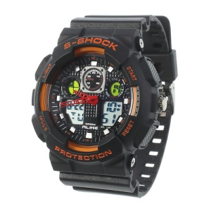 ALIKE S-Shock AK1055 Analog Digital Display Alarm Date Stop Sports Wrist Watch - Orange