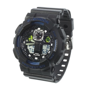 ALIKE S-Shock AK1055 Analog Digital Display Alarm Date Stop Sports Wrist Watch - Blue