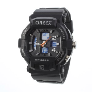 Black Oreex Double Movt Digital Unisex Watch with Blue LED Silicone Band (No.2038A)