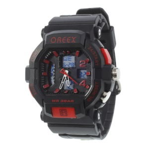 Red Oreex Double Movt Digital Unisex Watch with Blue LED Silicone Band (No.2038A)