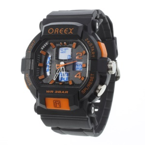 Orange Oreex Double Movt Digital Unisex Watch with Blue LED Silicone Band (No.2038A)