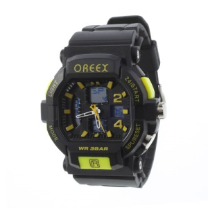 Green Oreex Double Movt Digital Unisex Watch with Blue LED Silicone Band (No.2038A)