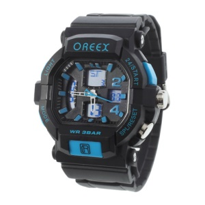 Blue Oreex Double Movt Digital Unisex Watches with Blue LED Silicone Band (No.2038A)