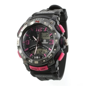 OREEX 2040A Unisex Round Double Movt Red Light Sports Watch - Rose