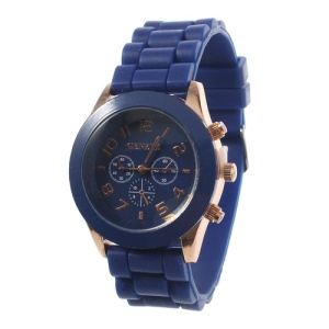 Fashion Quartz Movement Geneva Watch w/ Silicone Band - Dark Blue