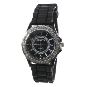 Rhinestone Women Geneva Watch w/ Silicone Band - Black