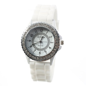 Rhinestone Women Geneva Watch w/ Silicone Band - White
