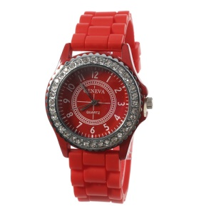 Rhinestone Women Geneva Watch w/ Silicone Band - Red