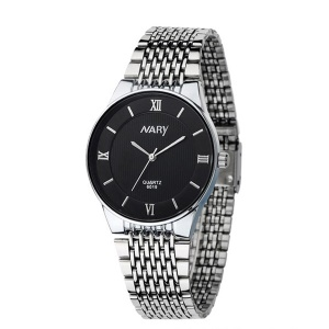 NARY Men Stainless Steel Quartz Wrist Watch - Black