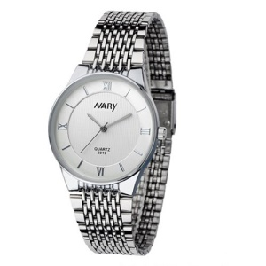 NARY Men Stainless Steel Quartz Wrist Watch - White
