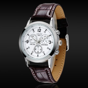 NARY Waterproof Men Digital Wrist Watch with PU Leather Band - White