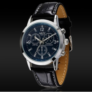 NARY Waterproof Men Digital Wrist Watch with PU Leather Band - Blue