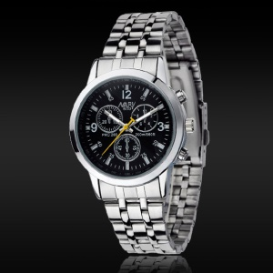 NARY Waterproof Men Stainless Steel Digital Quartz Wrist Watch - Black