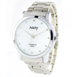 NARY Men Fashion Stainless Steel Quartz Watch - White