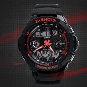 Waterproof Men LED Analog Digital Alarm Date Sports Wrist Watch - Red