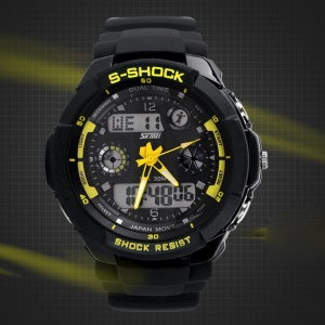 Waterproof Men LED Analog Digital Alarm Date Sports Wrist Watch - Yellow