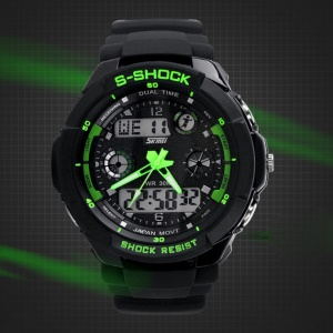 Waterproof Men LED Analog Digital Alarm Date Sports Wrist Watch - Green