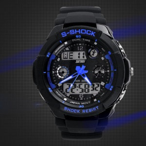 Waterproof Men LED Analog Digital Alarm Date Sports Wrist Watch - Blue