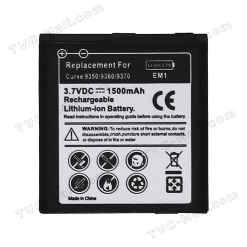 E-M1 Battery Replacement for BlackBerry Curve 9350 9360 9370 1500mAh (Built-in Decode Chip)