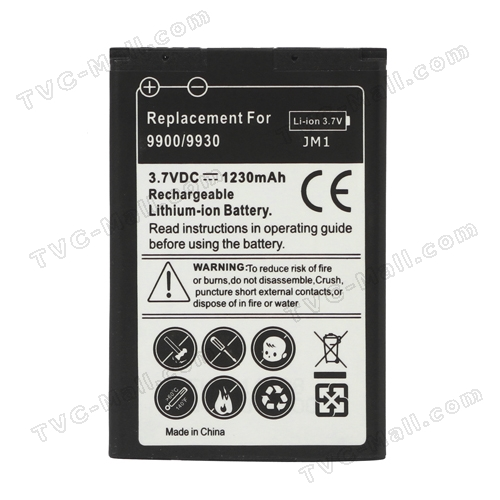 BlackBerry Battery for BlackBerry Bold 9900 9930 Torch 9850 9860 1230mAh J-M1