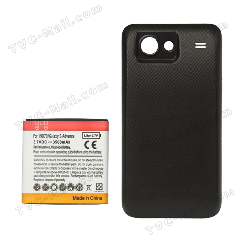 Extended Battery and Battery Door Cover for Samsung I9070 Galaxy S Advance 3500mAh