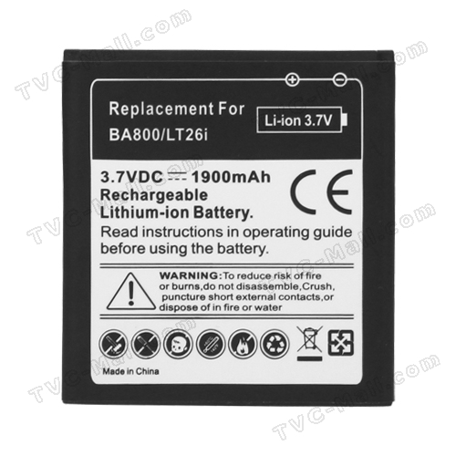Sony Xperia S LT26i Nozomi Battery Replacement 1900mAh, Model: BA800