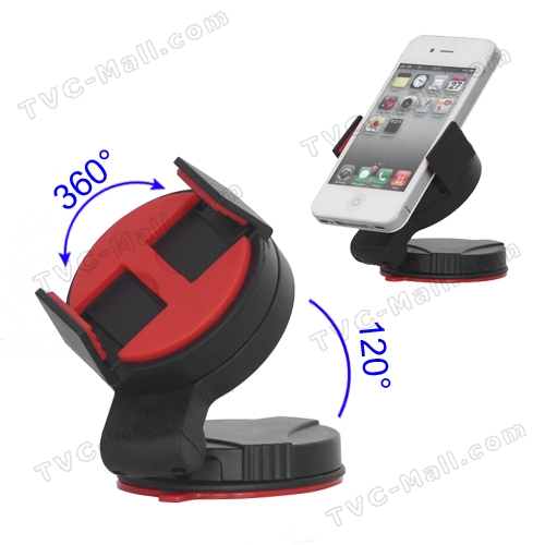 Universal Mobile Phone Windshield Car Holder for Samsung Galaxy S3 i9300 iPhone 4S, Width: 52mm~72mm - Red