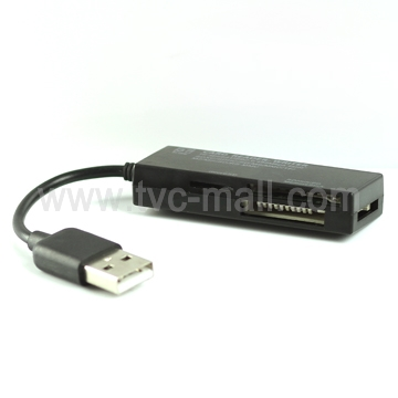Black Hi-Speed 4 Slots All in One Card Reader Writer SDHC/SD/MS/MMC/TF/M2/Min SD