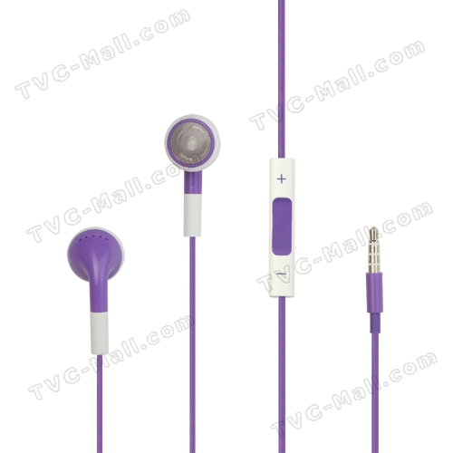 iPhone 4S Stereo Headphones with Volume Control and Mic (Round Earbuds) - Purple