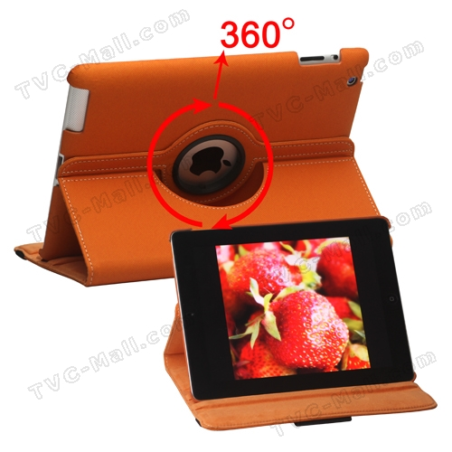 360 Degree Rotating Folio Canvas Case with Stand for iPad 2 The New iPad 3rd Generation - Orange