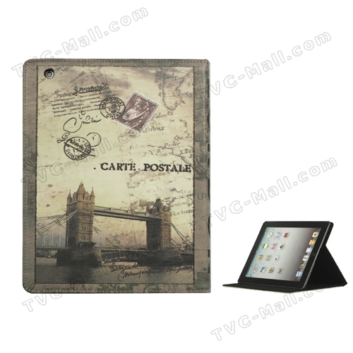 iPad 2nd 3rd 4th Gen British Style London Tower Bridge Magnetic Leather Case with Stand