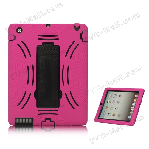 Snap-on Defender Case Cover with Stand for iPad 2 The New iPad - Black / Rose